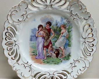 Reticulated Decorative Porcelain Plate Embossed Victorian Figures Scalloped Wall Decor