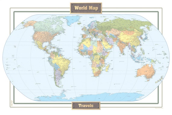 World Travel Map Large 24x36 World Art Map Display by WallArtMaps