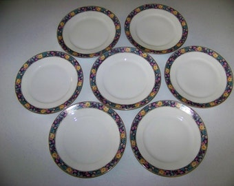 Thomas Bavaria 1908-1939 Yellow Roses Purple Tulips & Flowers Set Of  7 Lunch Plates
