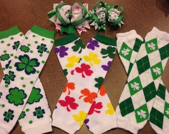 Leg warmer bow set, st patricks Day leg warmers, bow and leg warmers, st patricks Day