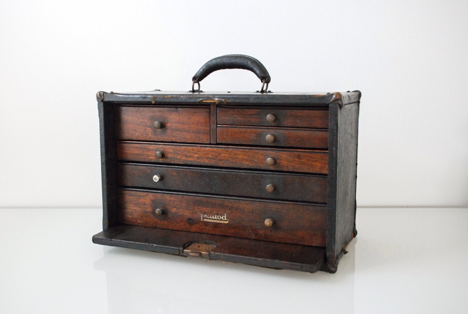 Wood Tool Chest ~ Tool box chest wooden antique cloth