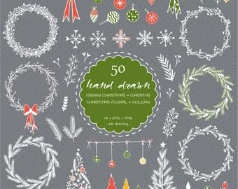 50 Hand Drawn Christmas Digital Clip Art - Merry Christmas - Christmas Wreaths - Christmas Decoration - Christmas Trees-Christmas Gift-Card