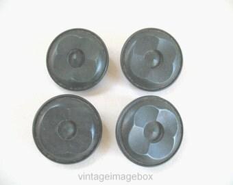 Vintage buttons, 1940s dark green colour, possibly bakelite, petal shape top, set of four