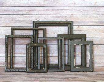 Custom Dark Brown Shabby Frame Set Distressed Frames with Glass Backing