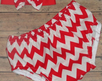 Cake Smash RED CHEVRON Infant Photo Prop 1st Birthday Set Diaper Cover and Bow Tie