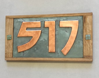 "Arts and Crafts Style plaque 3""/75mm, 4""/100mm Oak Wood and Copper House numbers,  3 x nos. in Bala font g"