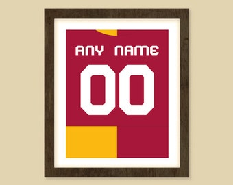 Galatasaray S.K. Jersey Print - Personalized Poster - Put ANY Name & ANY Number 5x7 - 8x10 - 16x20