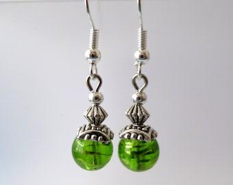 green earrings - lovely gift - grass green earrings