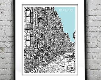 Back Bay Boston Skyline Poster Art Print Massachusetts Ma Version 23