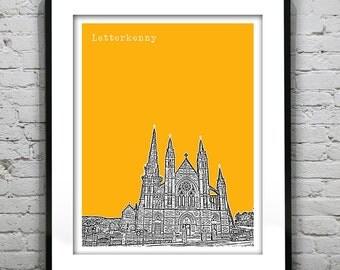Letterkenny Ireland Skyline Poster Art Print Travel version 2 St. Eunans Cathedral