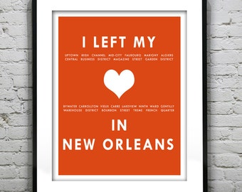 New Orleans Louisiana - I Left My Heart In New Orleans Poster Art Print LA