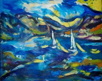 Original Art Print. Seascape sailboat impressionist original oil painting by BrandanC