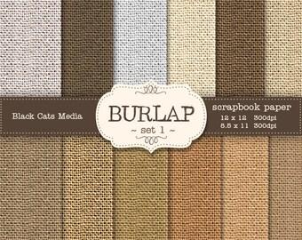 Burlap Digital Paper, Burlap Paper, Natural Burlap Earth Tones, Burlap Paper Pack, Fabric Digital Paper, burlap