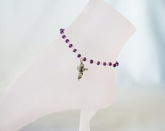 Cupid and Amethyst Anklet
