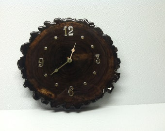 Hand cut Walnut wood clock sealed in clearcast epoxy