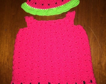 Watermelon Sundress with matching hat