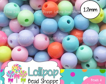 12mm PASTEL GUMBALL Beads Chunky Beads Solid Acrylic Gum Ball Beads Easter Beads Round Plastic Bubblegum Beads 20 MIX Bubble Gum Beads