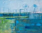 "Landscape seaside blue, green,  ""Port 07"" . Oil painting on canvas. 100/50 cm, 40"""