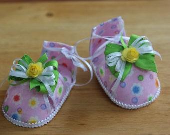 Colorful Baby Girl Shoes   Pink, Green, Orange   Handmade babyshower gift