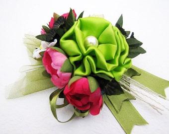 Free Shipping/Handmade Bridal Chic Green Silk Fuchsia Organza Flower Brooch /Hair Clip/Bag Clip