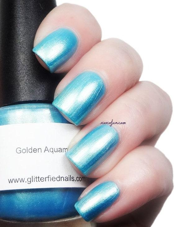Golden Aquamarine Aqua Blue Shimmer Nail Polish Turquoise 5 free nail polish handmade indie nail polish vegan cruelty free nail polish