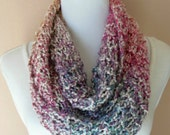 Multicolored Infinity Scarf Pastel Hand Knit Circle Loop Fashion Scarf in Mimosa