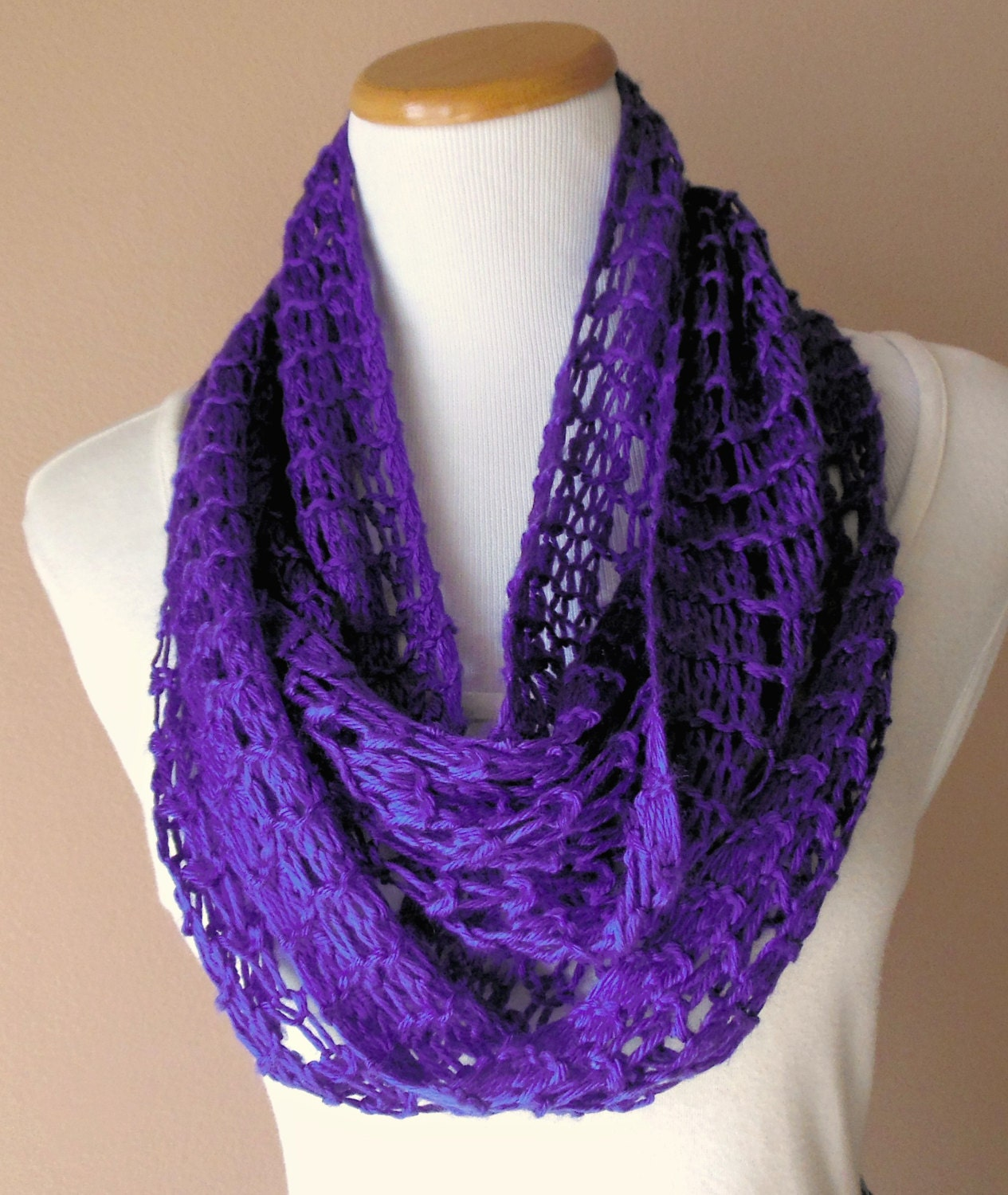 Purple Infinity Scarf Hand Knit Light Weight Lacy Open Weave