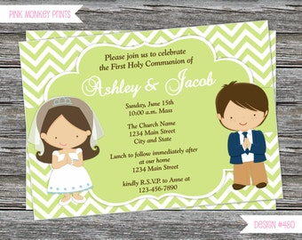DIY -  Boy  & Girl First Communion Invitation # 480- Coordinating Items Available