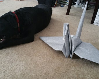 Giant Origami Glitter Paper Crane