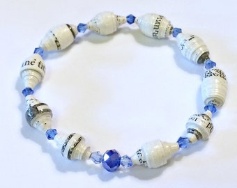 White Paper Bead Bracelet with Blue Crystals First 1st Paper Anniversary Stretch For Her Mom Sister Wife Unique Dainty Repurposed Recycled