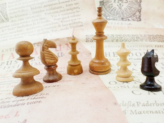 Old Wooden Chess Pieces Ancien Style Set Of 6 By