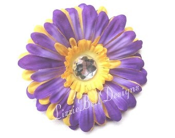 2010 Purple Hair Clip Yellow Childs Flower Hair Clip / Perfect for Headband or Tutu