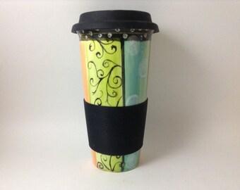 Hand painted whimsical travel mug
