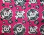 Children's Cot Sheet - Pink Skulls