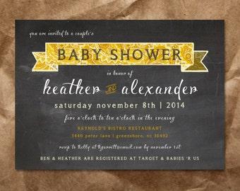 Yellow Paisley Baby Shower Invitation