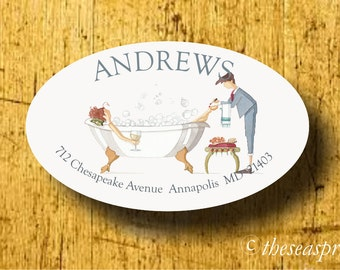 Return address label/sticker/ bubble bath/drinking wine/hostess gift/reading book/pedicure