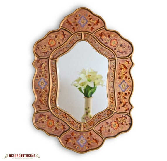 Decorative oval wall mirror 39 blossom andean 39 for Fancy oval mirror