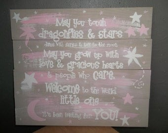 dragonflies and stars nursery sign