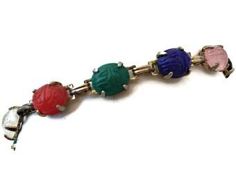 Egyptian Revival Scarab Bracelet Carved Glass Beetle