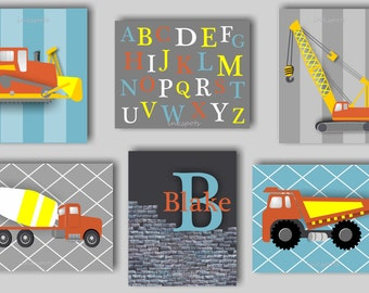 Baby Boy Nursery Art Truck Nursery Art Construction Truck Art Transportation Nursery Decor Boys Room Construction Truck Bedding Decor TRCO12