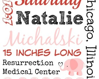 Birth Announcement Poster - Customized Printable Wall Art