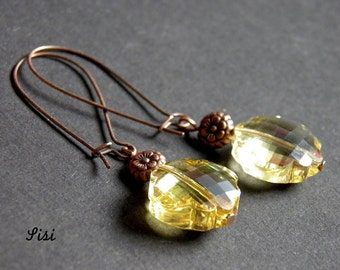 Copper earrings clover yellow crystal