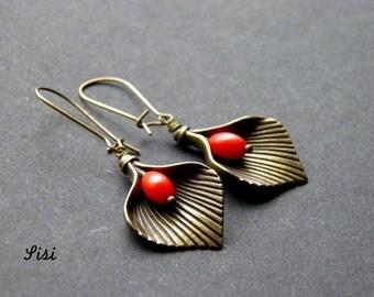Earrings bronze rod red flower
