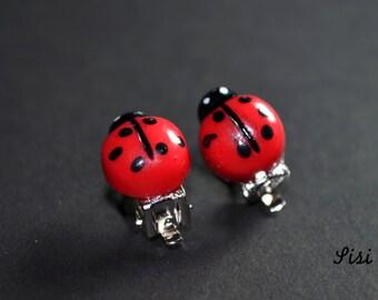 Earrings ladybug on clips