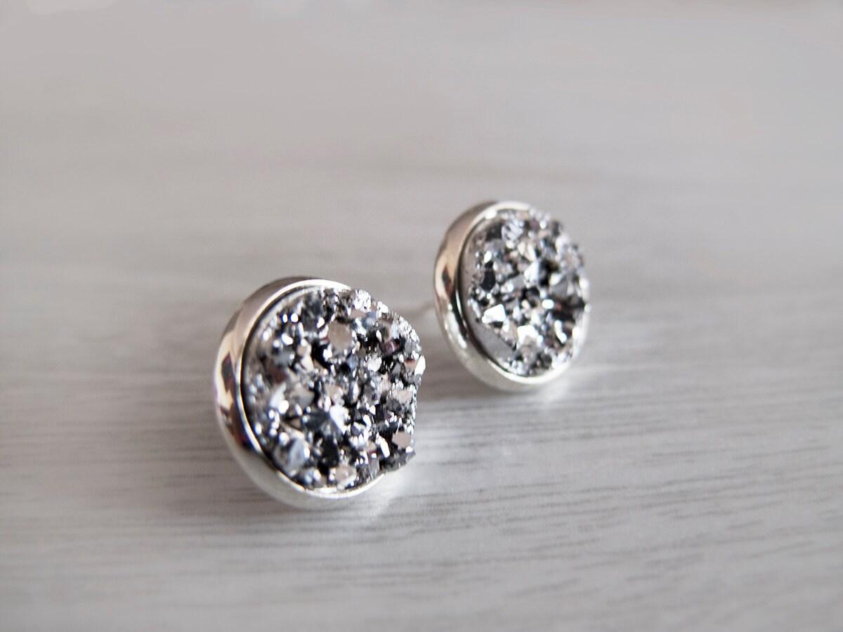 silver sparkly druzy stud earrings