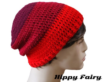Red and Claret three striped slouch Beanie hat