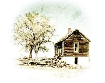 Fine Art Photography, hill house, little house, homestead, wood cabin, rustic, brown, neutral, landscape, Rustic Home Decor, Primitive Art