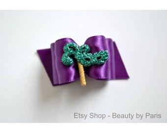 """Mardi Gras Masquerade -Purple, 7/8"""" Dog Bows"""