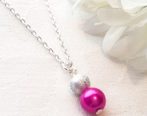 Hot Pink Necklace Pink Jewelry Pink Pearl Necklace Bridesmaid Necklace Wedding Jewelry Bridesmaid Gift