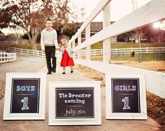 Tie Breaker coming, Girls and Boys - 3 Chalkboard Announcement Printable digital files- Announcing baby/ pregnancy announcement 8x10